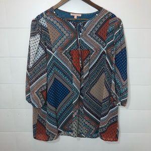 NWT Gibson Latimer boho style blouse